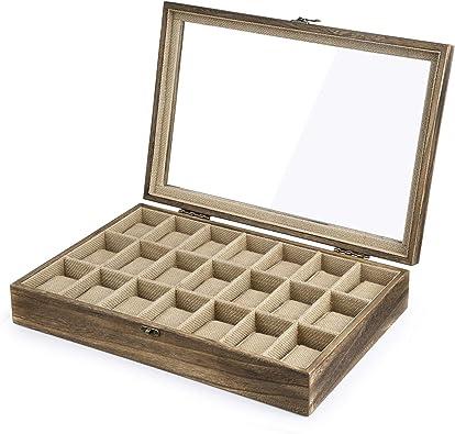 SRIWATANA Caja organizadora de relojes para hombres y mujeres, caja de madera con parte superior de cristal, estilo vintage, madera, 21-Slot: Amazon.es: Joyería
