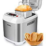 VIVREAL Bread Maker, Automatic Express Baking Bread Machine, Home Bakery Pro 12 Menus with Gluten Free, 3 Crust Colors 2 Loaf Sizes(1/1.5 LB), 15h Delay Time 1h Keep Warm, ETL Listed Stainless Steal
