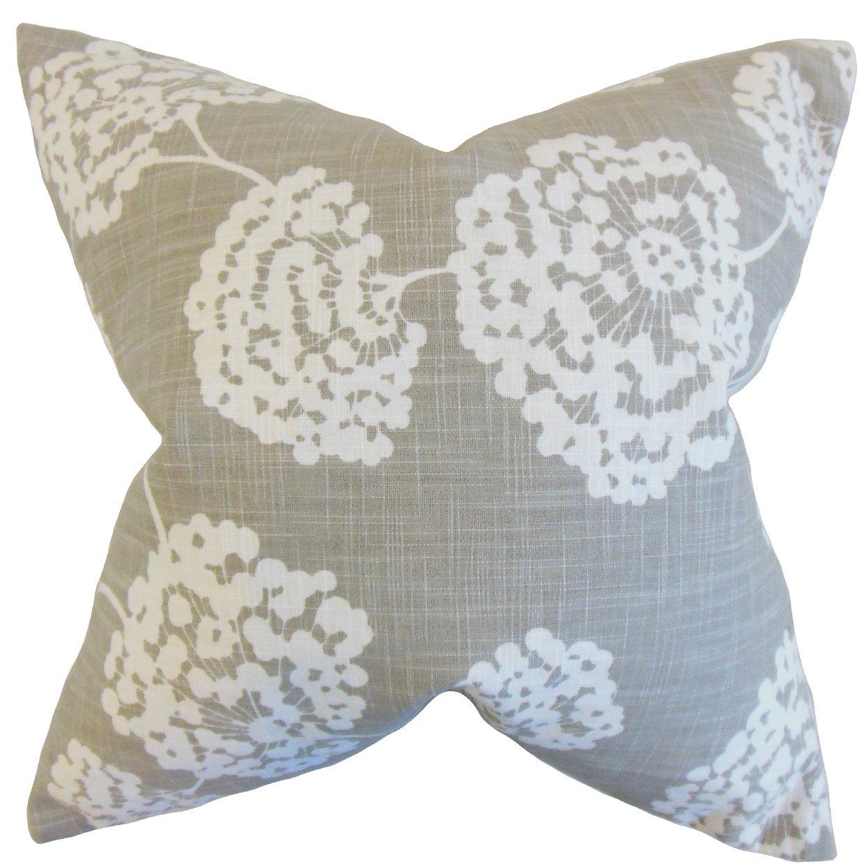The枕コレクションRafiq花柄ライトグレー枕、20