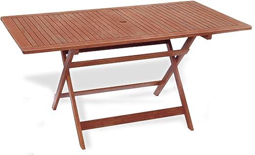 Mesa rectangular plegable 150 x 80 x 72 mesa de jardín mod.Madreselva (madera keruing a lavorazione artigianale, mesa de madera uso exterior, Mesa (Keruing, mesa plegable de jardín.: Amazon.es: Jardín