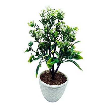 Buy artificial plant with pot 5 branched bonsai tree with big artificial plant with pot 5 branched bonsai tree with big green leaves and white flowers mightylinksfo