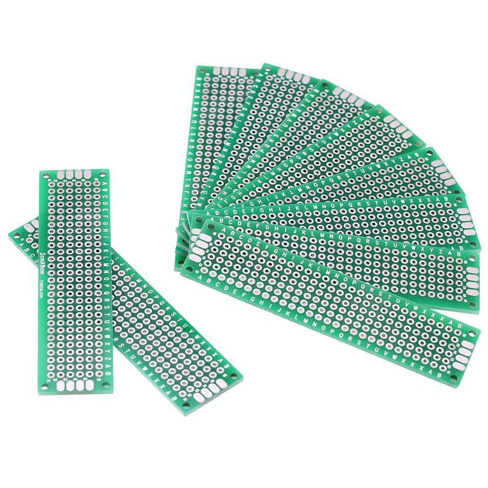 Akozon Doble cara prototyping PCB placas de circuitos DIY soldadura 10 piezas 2 cm x 8 cm