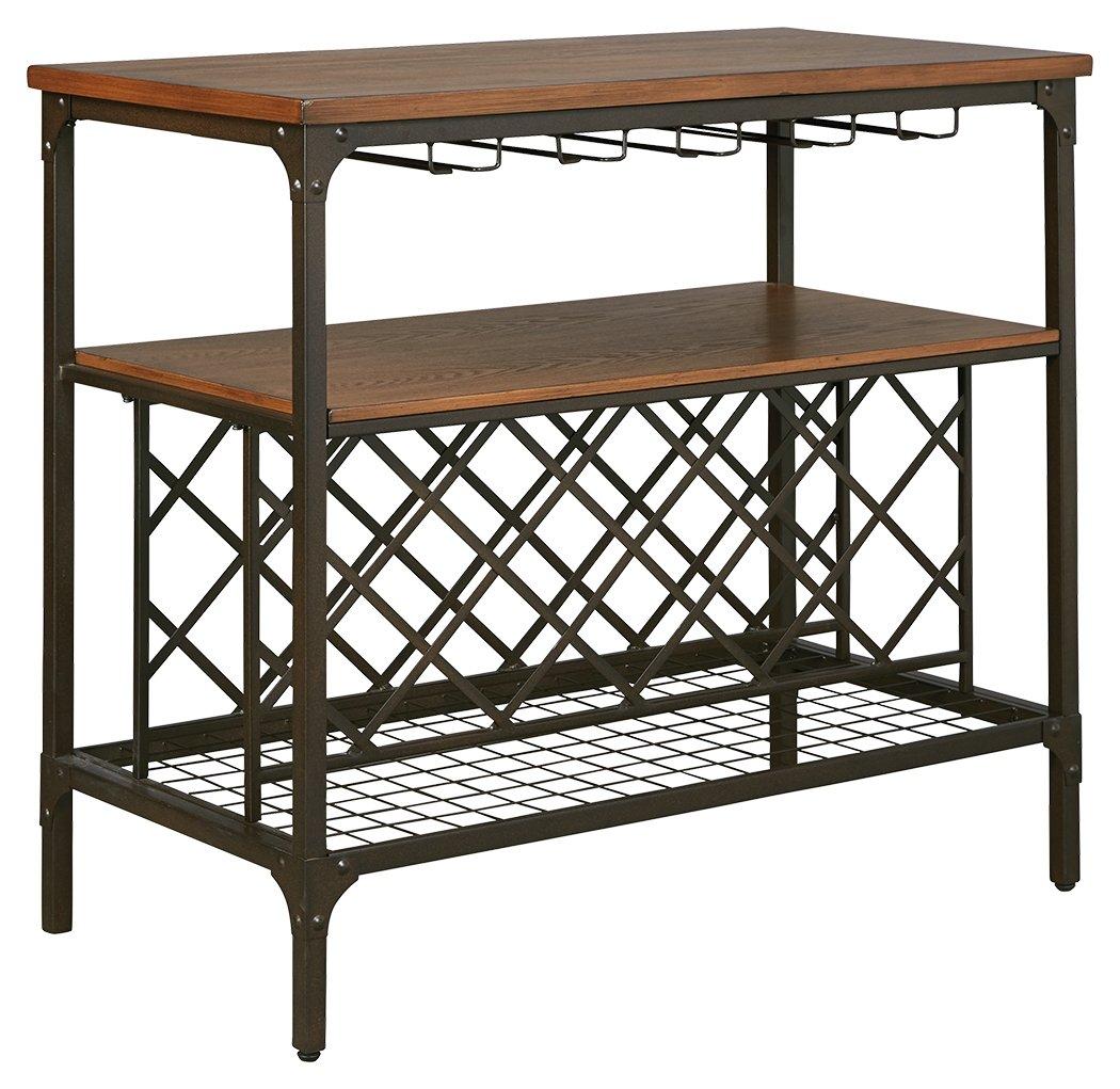 Ashley Furniture Signature Design - Rolena Dining Room Server - Includes Wine Bottle Rack & Hangers - Brown