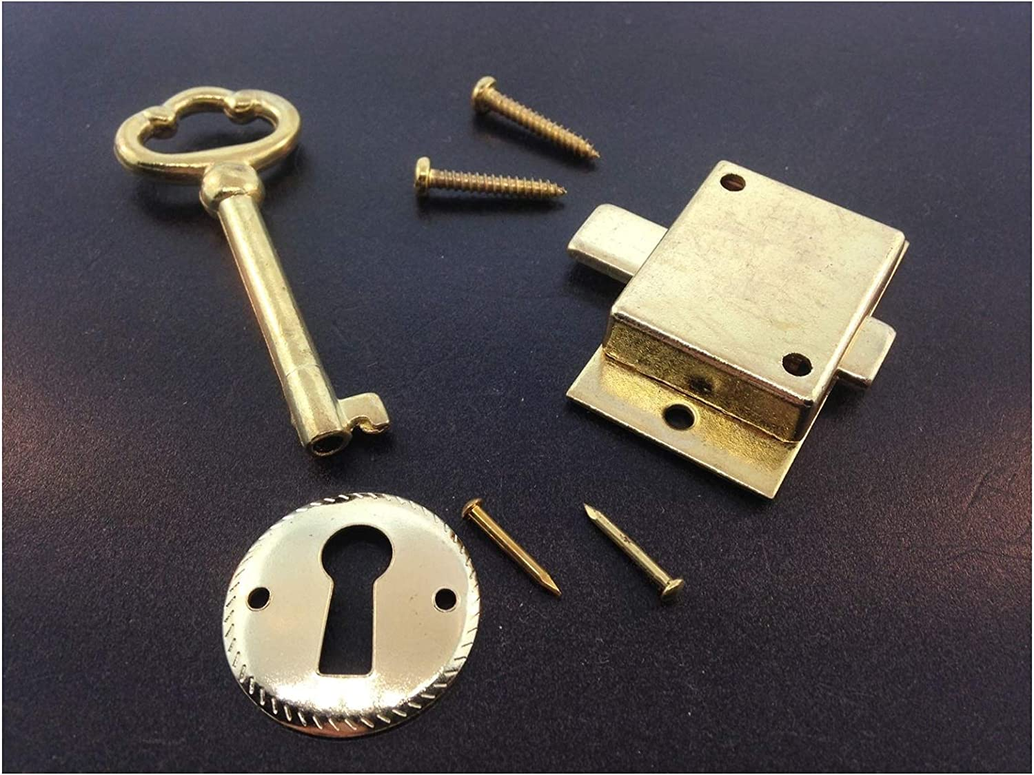 Galapagoz Grandfather or Grandmother Clock Flush Mount Front Door Lock and Key Set Brass USA