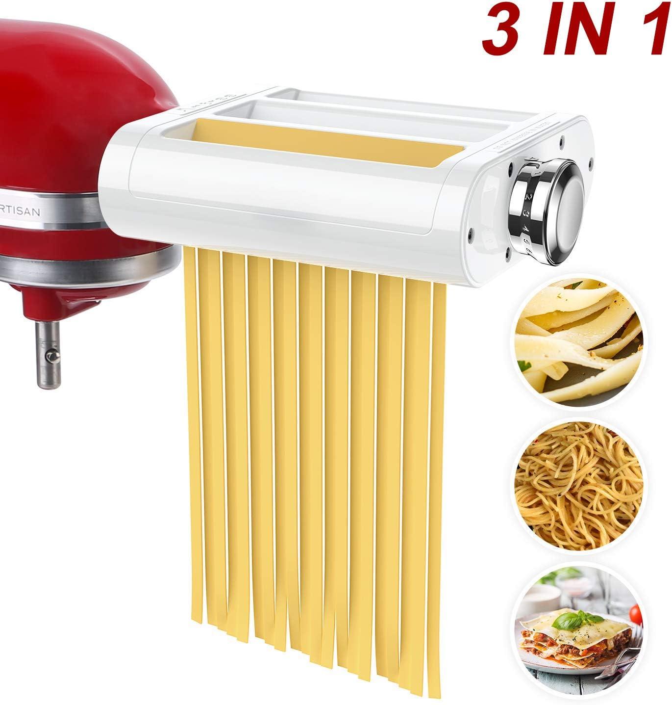 ANTREE Accesorio para hacer pasta 3 en 1 juego para batidoras KitchenAid incluido, rodillo de hoja de pasta, cortador de espagueti, accesorios para cortador de fettuccinas y cepillo de limpieza: Amazon.es: Hogar