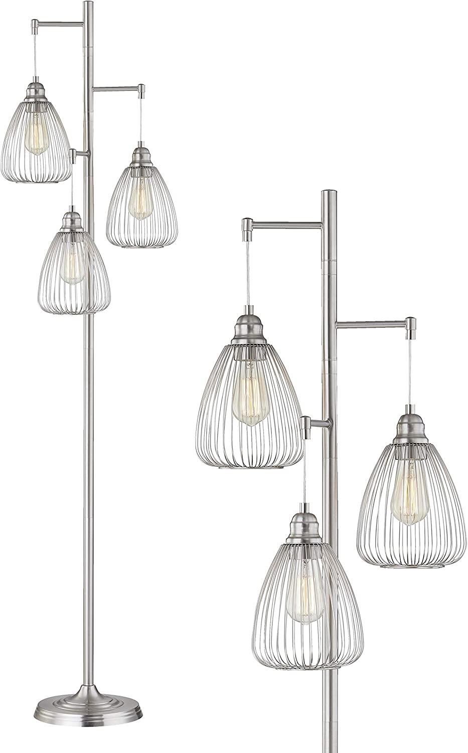 LeeZM Chrome Industrial Floor Lamp For Living Room Modern Floor Lighting Rustic Tall Stand Up Lamp Vintage Farmhouse Tree Floor Lamps For Bedrooms Office Torchiere Standing Lamp 3 Light Bulbs Included