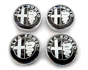 Tapacubos de llanta de aleación de Alfa Romeo, estilo negro, 60 mm, paquete de cuatro (60 mm): Amazon.es: Coche y moto