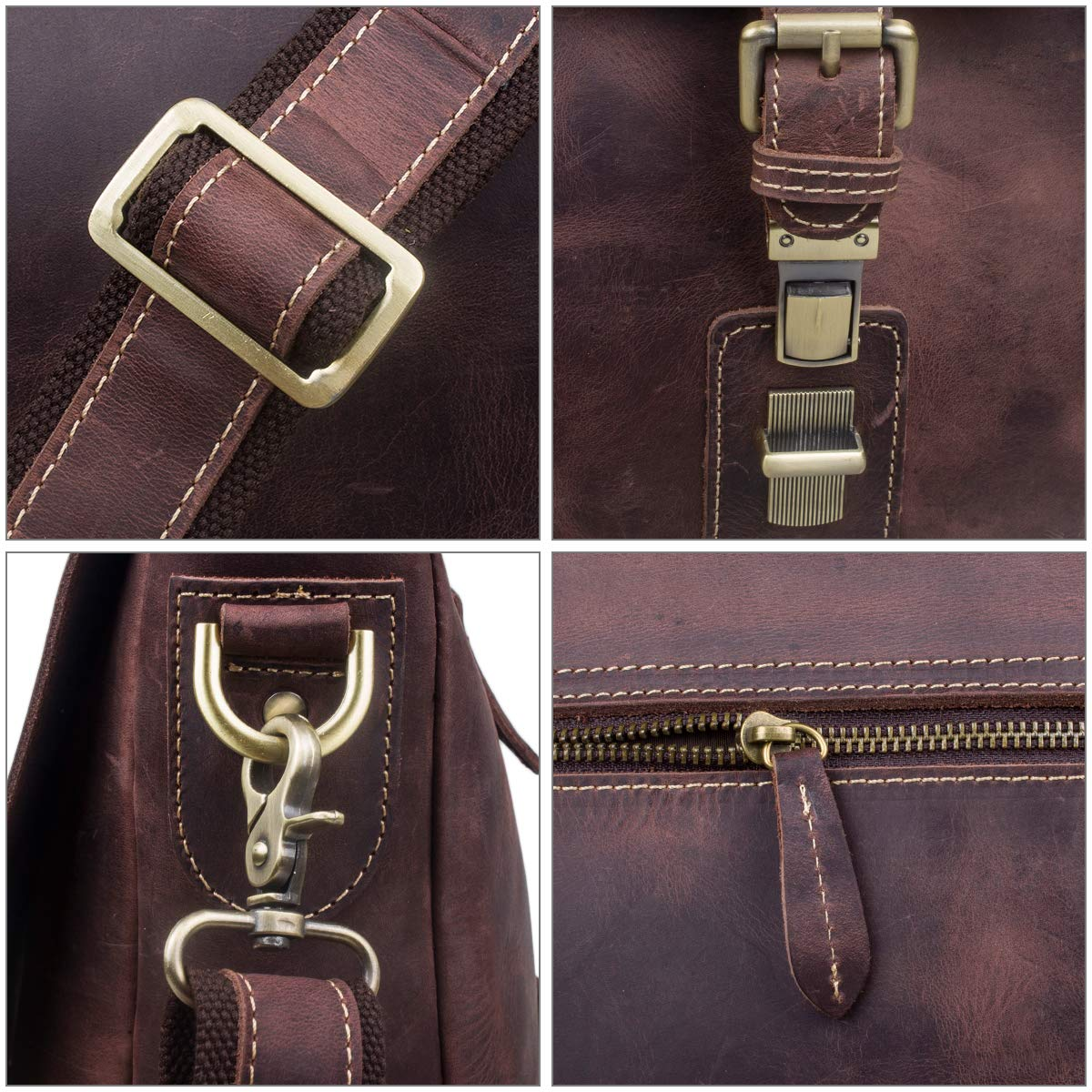 S-ZONE Men's Crazy Horse Leather Satchel Briefcase Shoulder Bag Messenger Bag 14'' Laptop Tote Bag by S-ZONE (Image #6)