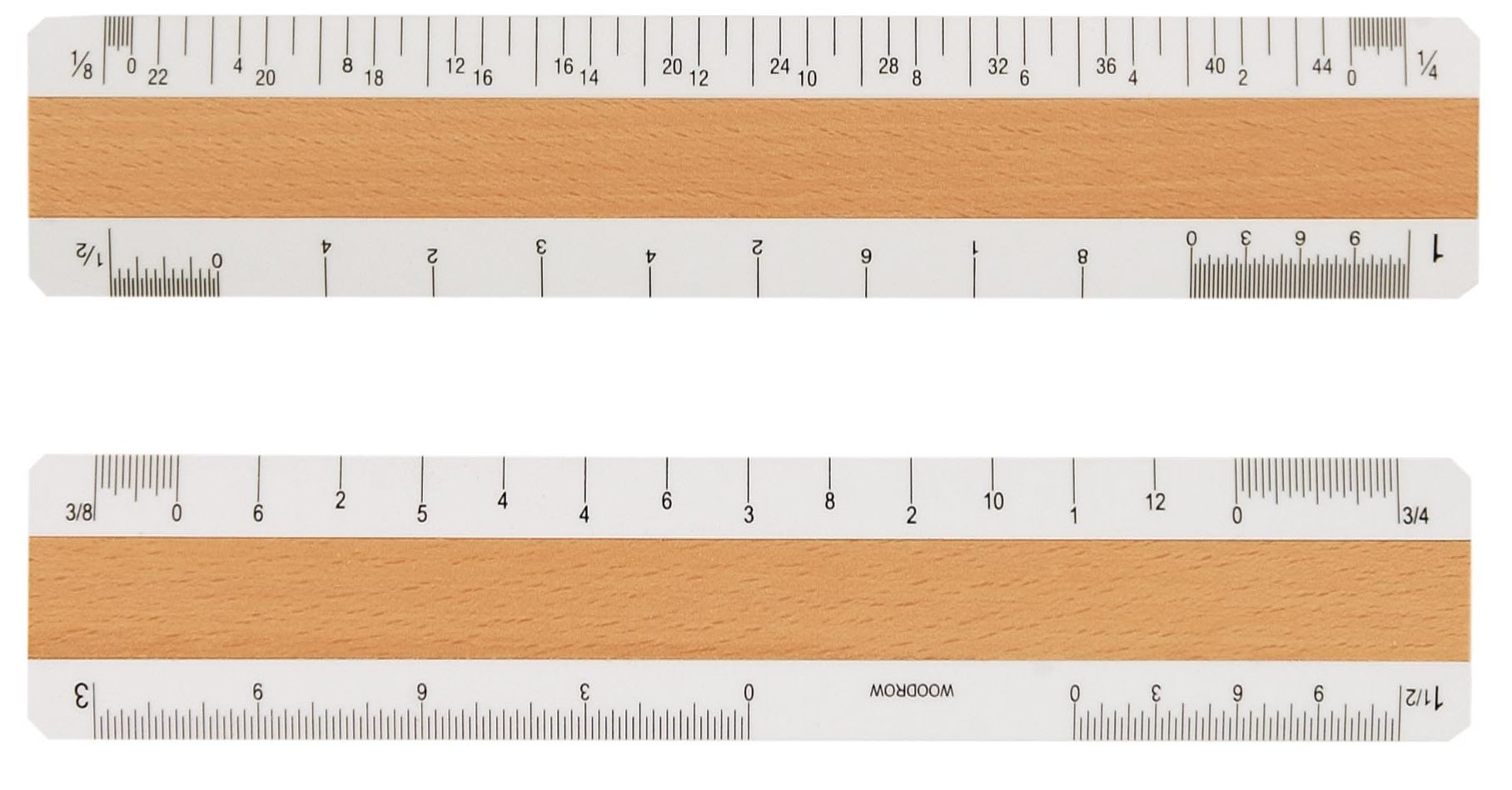 Woodrow 6'' Architectural 4 Bevel Wood Ruler