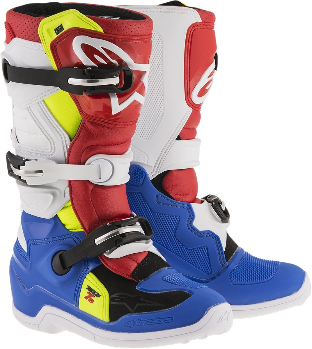 Alpinestars Blue White Red Yellow Flourescent 2017 Tech 7S Kids MX Boot