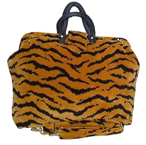 a35dd51881b5 Amazon.com  Lush Chenille Tapestry Carpet Bag in Gold   Black Tiger ...