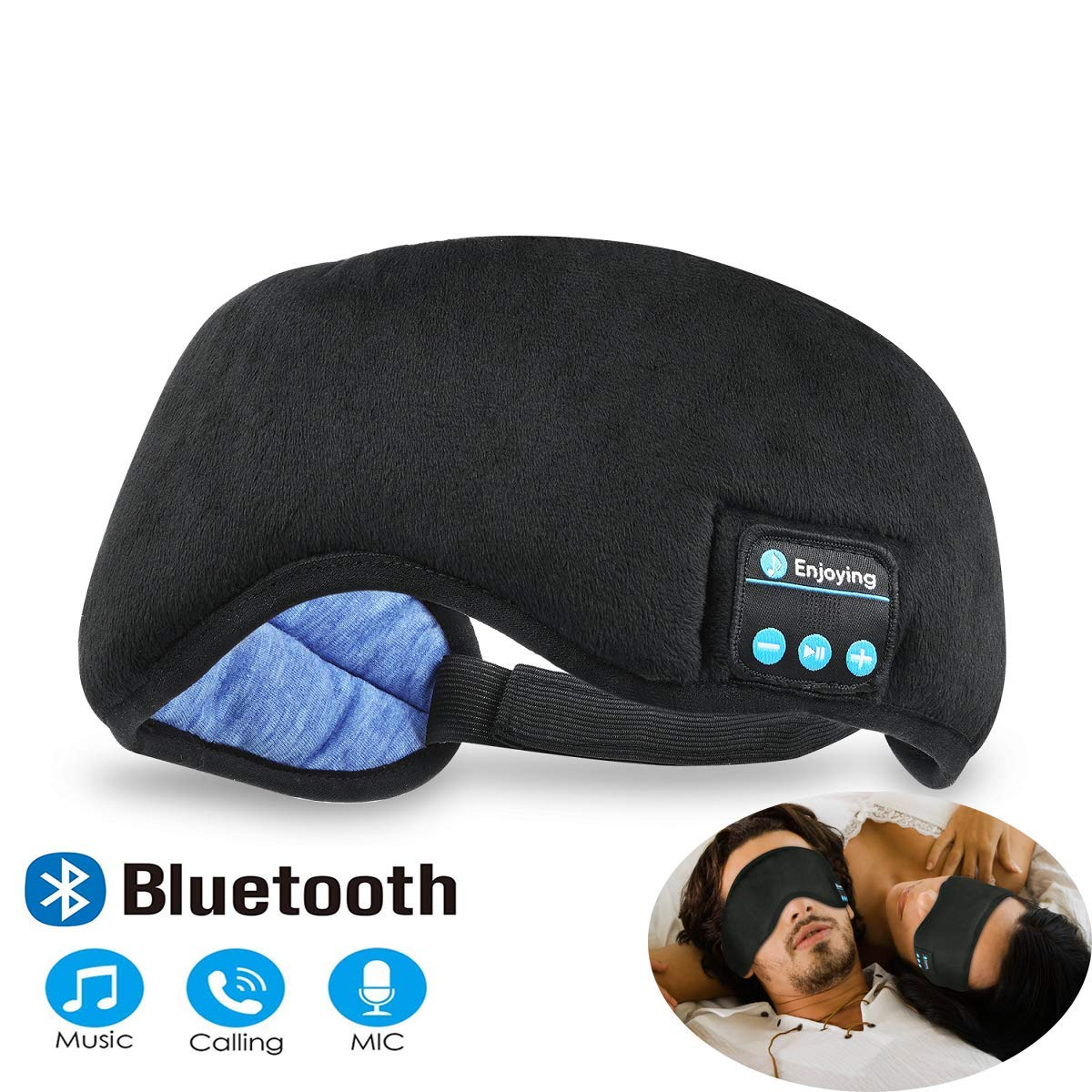 Bluetooth Sleeping Eye Mask Headphones, Black Wireless Sleep Headphone, Built-in Bluetooth 4.2 Speakers Microphone Adjustable&Washable, Perfect for Air Travel, Siesta