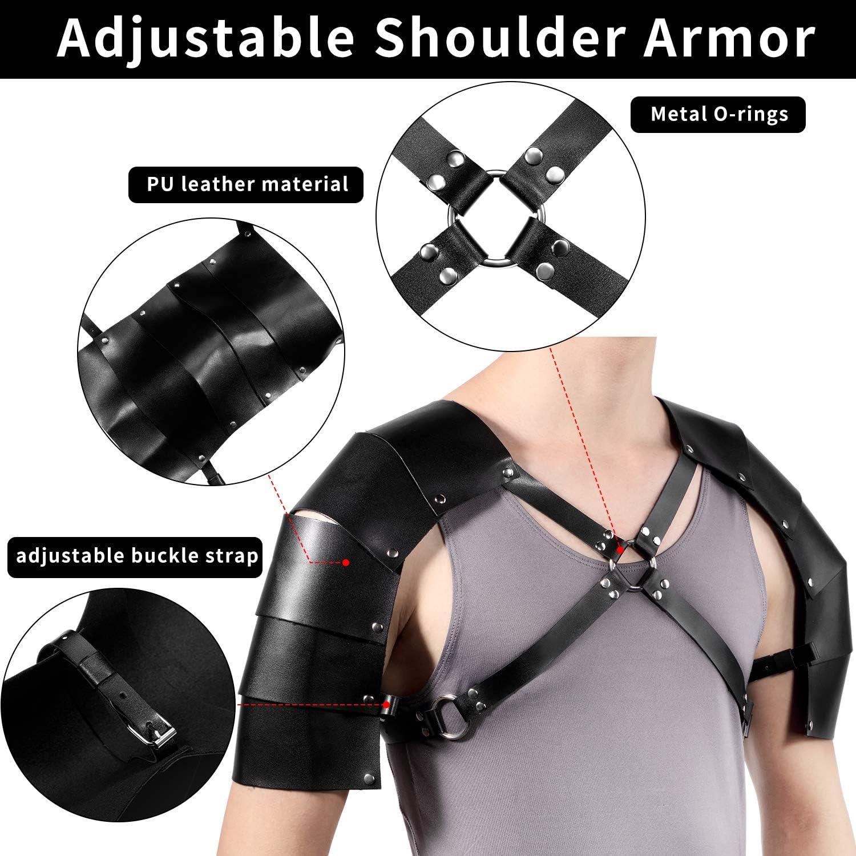 Unisex Gothic Steampunk Shoulder Armors PU Metal Rivet Arm Strap Cuff Body Chest