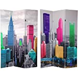 Oriental Furniture 6 ft. Tall Colorful New York Scene Room Divider