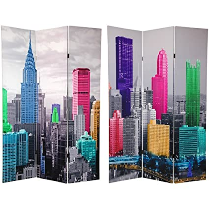 Amazoncom Oriental Furniture 6 ft Tall Colorful New York Scene
