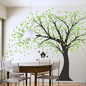 Giant Schwarz Baum Wand Aufkleber Mit Grünen Blättern Vögel Und Vogelkäfig  DIY Vinyl Wand Aufkleber Aufkleber