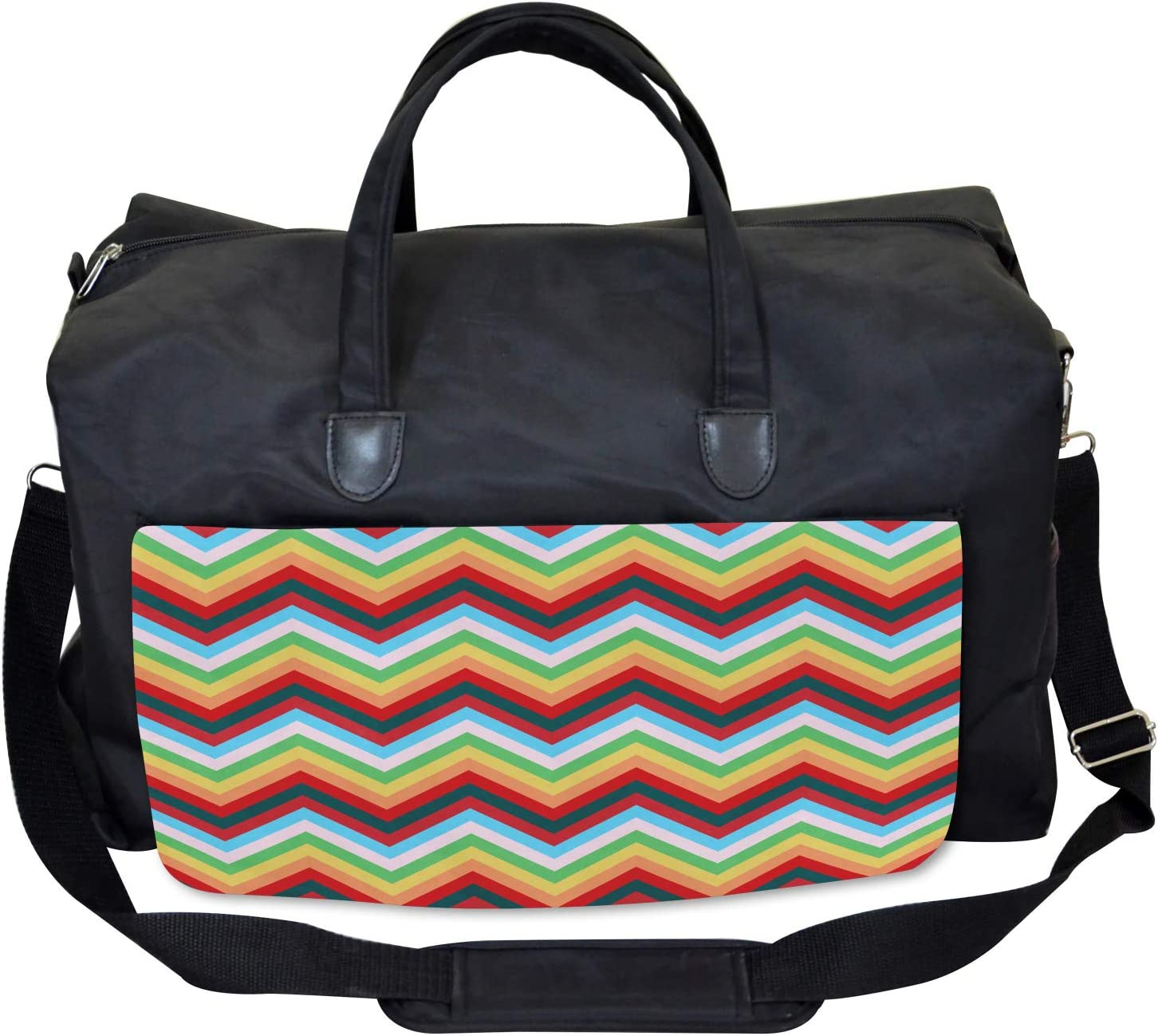 Ambesonne Colorful Gym Bag Zigzag Sharp Vibrant Large Weekender Carry-on