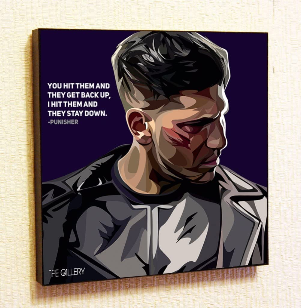 """Punisher Marvel DC Comics Super Hero Motivational Quotes Wall Decals Pop Art Gifts Portrait Framed Famous Paintings on Acrylic Canvas Poster Prints Artwork Geek (10x10"""" (25.4cm x 25.4cm))"""