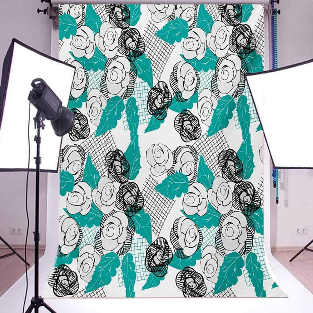Floral 10x15 FT Backdrop Photographers,Modern Roses with Minimalist Sketchy Lines Stripes Pastel Image Illustration Background for Child Baby Shower Photo Vinyl Studio Prop Photobooth Photoshoot