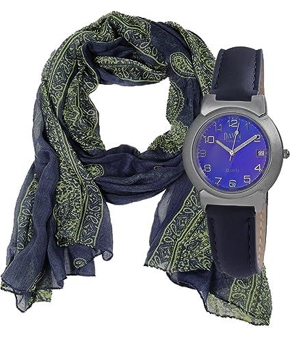 Geschenk Set, Sportliche, Unisex Damen Armbanduhr mit blauem Zifferblatt, Echtleder Armband mit Tuch...