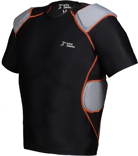 Schwarz Full Force Wear 3 Pad Shirt mit Rippenpolsterung Gr S-3XL