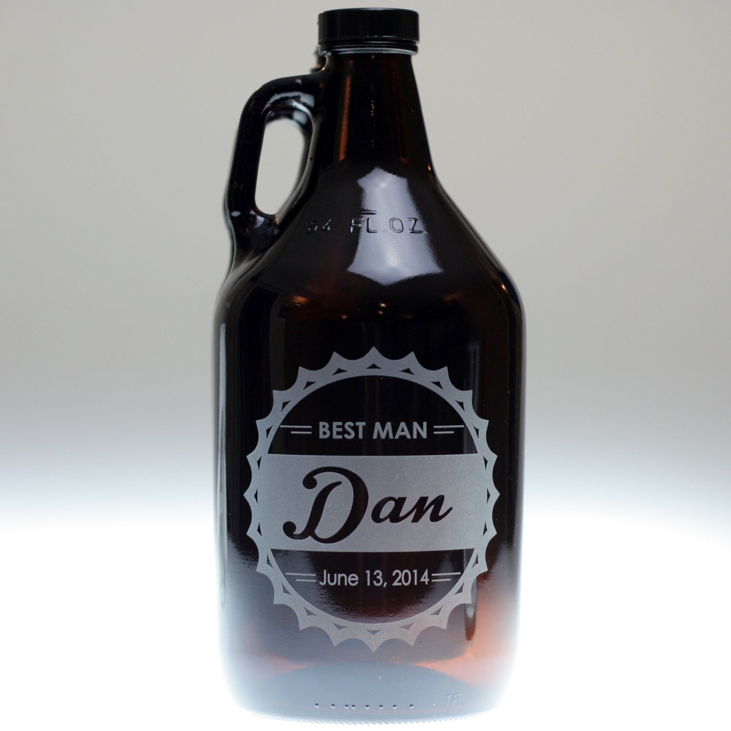 Personalized Engraved Bottle Cap Theme Groomsman Beer Growler Glass Set | Custom Groomsmen Gift by Glass Blasted (Image #2)