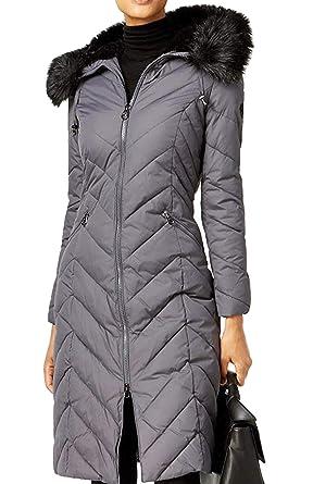 6f6dd2f7381 Laundry by Shelli Segal Faux-Fur-Trim Down Hood Puffer Coat Jacket Grey (