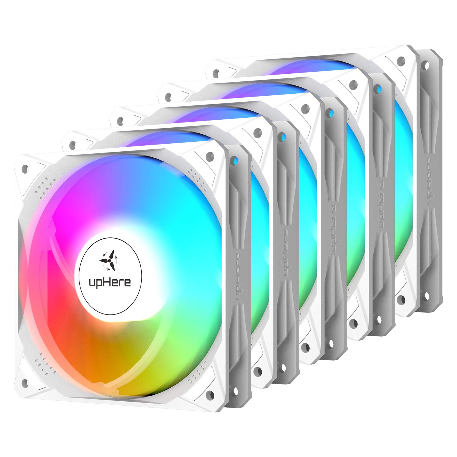 upHere 120mm White 5V ARGB Case Fan Long Life Hydraulic Bearing with Motherboard Sync 16.8 Million Colors Addressable LEDs,5 Pack,NT123+3-5