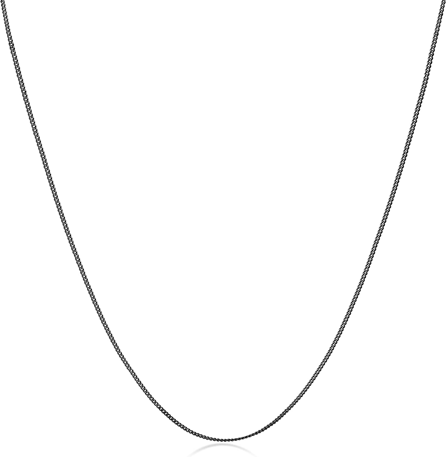 Various Lengths Royal Black Collection 925 Sterling Silver 1.3 mm Curb Chain Necklace Amberta