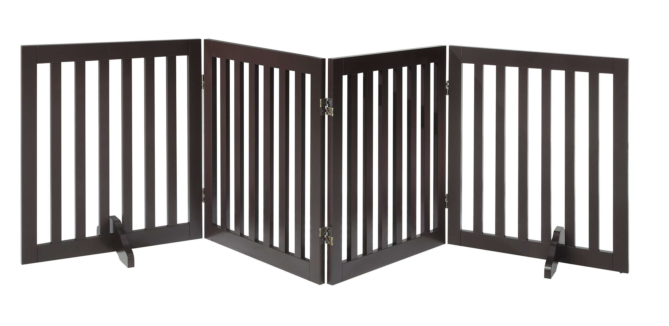 Total Win - Freestanding 24'' Step Over Dog Gate w/ Support Feet (Espresso) | Up to 80'' Wide | Assembly-free | Sturdy Wooden Structure | Foldable Design