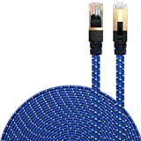 Cat 7 Ethernet Cable, DanYee Nylon Braided 16ft CAT7 High Speed Professional Gold Plated Plug STP Wires CAT 7 RJ45 Ethernet Cable 3ft 10ft 16ft 26ft 33ft 50ft 66ft 100ft(Blue 16ft) (Color: Blue 16ft, Tamaño: Blue 16ft)