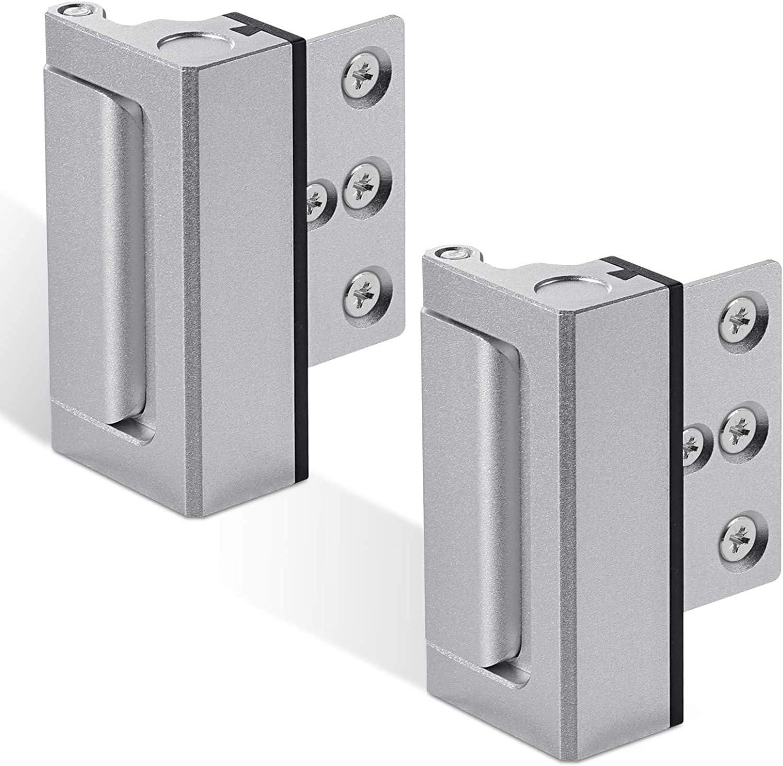 2Pack Home Security Door Reinforcement Lock, Childproof Door Lock Defender, High Security to Home Prevent, Aluminum Construction Finish (2)