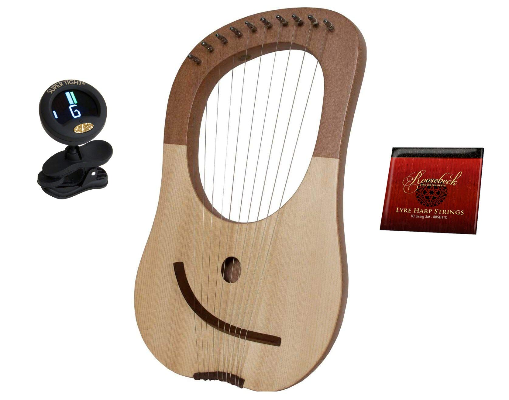 Lyre Harp Biblical King Davids Solid Spruce W/Tuning Tool + 10-String Lyre Harp Replacement Extra Strings - Steel & Nickel Wound + Snark Clip-On Chromatic Tuner by Mid-East