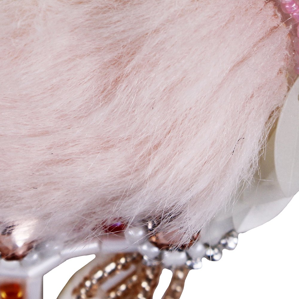 2pieces DIY Fur Diamond Crane Bird Feather Beaded Sequin Motifs Flamingo Patches Rhinestones Crystal Applique Sewing Craft TH907 907 Pink