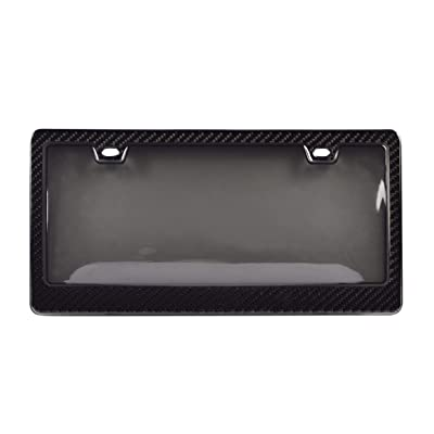 BLVD-LPF OBEY YOUR LUXURY Genuine 100% Carbon Fiber License Plate Frame TAG Cover 3K with Tinted Cover 2 in 1 Real Carbon Fiber and Unbreakable Cover Patent: Automotive
