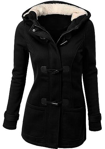 U-shot – Abrigo con capucha de invierno para mujer, con botones de cuerno