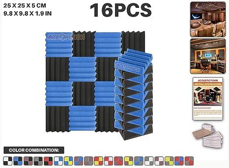 Ace Punch 16 piezas AZUL y NEGRO Cuña Studio Foam Panel Aislamiento Acústico Tratamiento Espuma Acústica