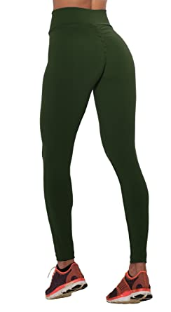 61773b6896b674 Ivay Women's Fitness Activewear High Waisted Active Booty Leggings Scrunch  Butt Lifting Pants Army Green