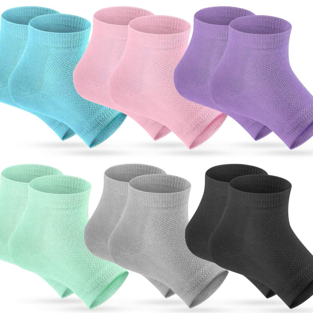 Selizo 6 Pairs Heel Moisturizing Socks Open Toe Socks Cracked Gel Heel Socks Foot Toeless Cooling Heel Repair Socks for Women Dry Hard Cracked Feet, 6 Colors