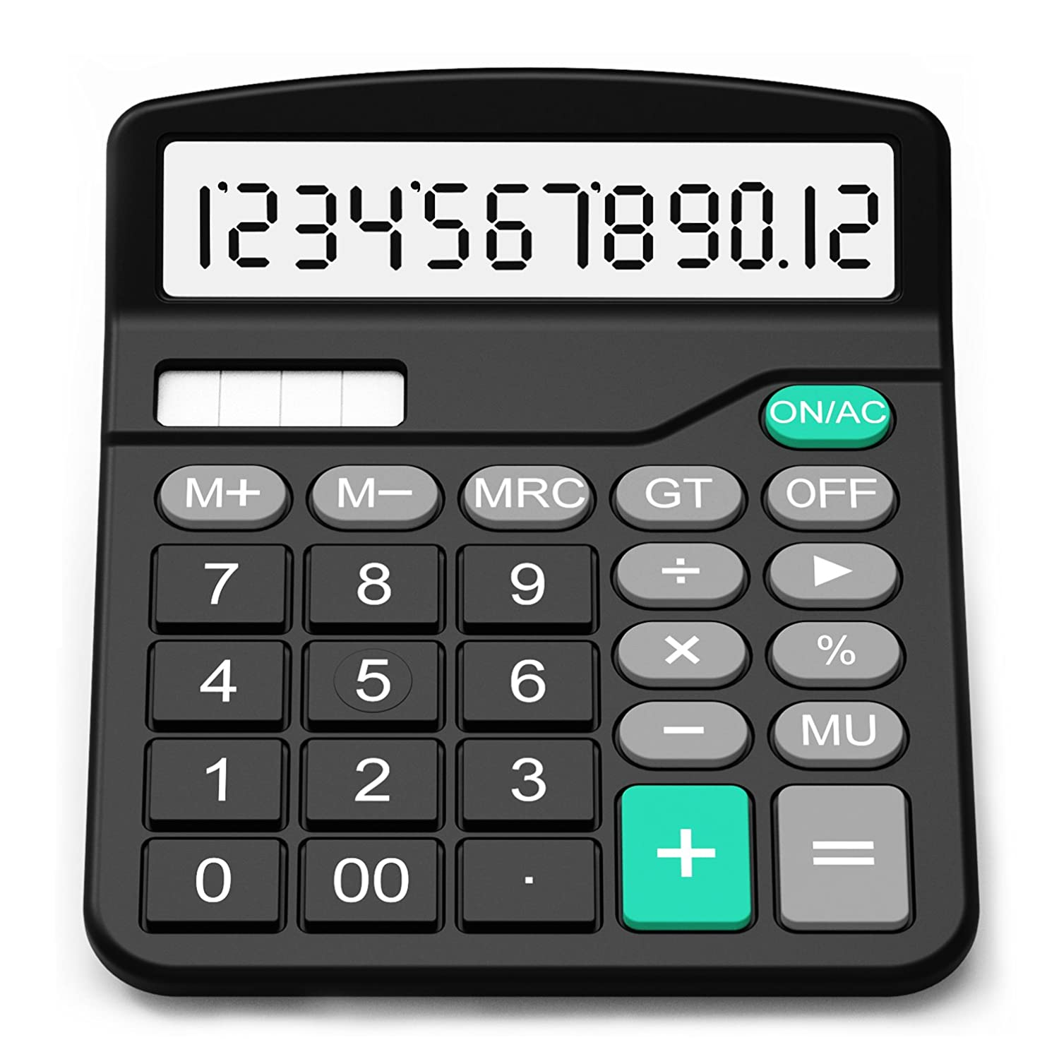 Calculator, Splaks Standard Functional Desktop Calculator Sola and AA Battery Dual Power Electronic Calculator with 12-digit Large Display Variation