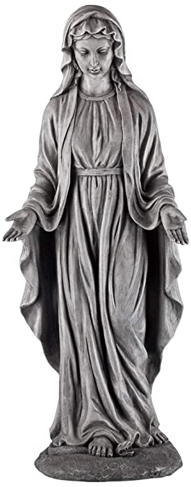 "John Timberland Virgin Mary Gray Stone 29"" High Outdoor Statue"