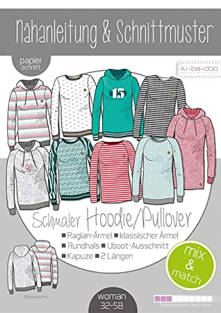 17c8632c5a Papierschnittmuster Mix&Match Sweater/Hoodie Schnittmuster und Anleitung  als Broschüre Größe 32-58