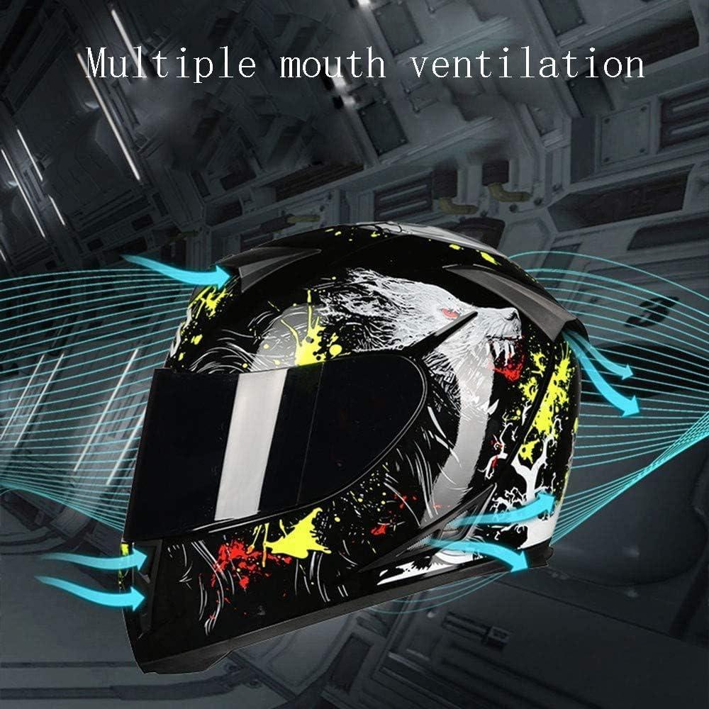 Motorbike Crash Modular Bluetooth Helme,with Black Anti-fog Dual Visors Motorcross Helmets Full Face Racing Motorcycle Helmet ECE//DOT Certification for Adult Men Women