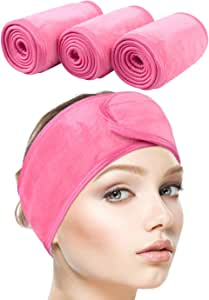 Sinland Spa Headband for Women 3 Counts Adjustable Makeup Hair Band with Magic Tape,Head Wrap for Face Care, Makeup and Sports