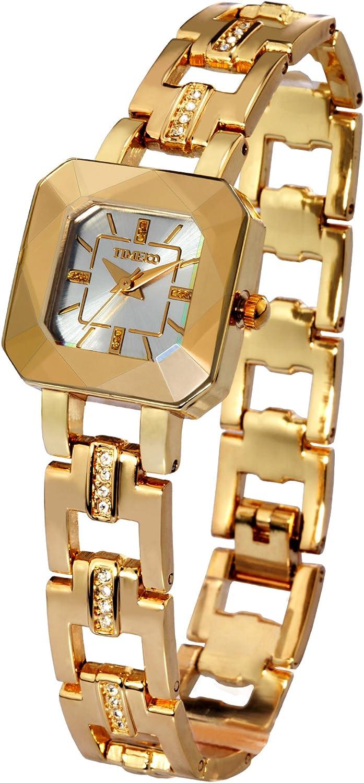 Time100 Reloj Cuarzo Pulsera de Cristal de Corte Tridimensional con Diamantes para Mujeres y Chicos