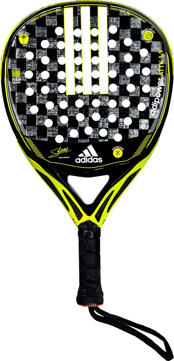 Amazon.com : adidas Adipower Attack 1.9 Neon Yellow/Black/Silver Advanced-Professional Padel Racket : Sports & Outdoors