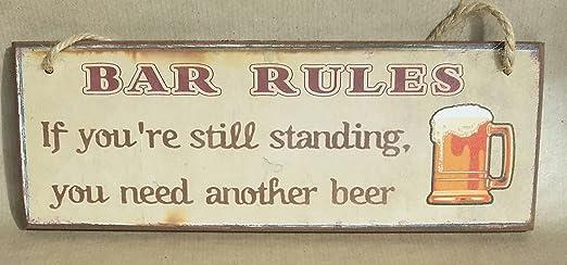 Bar Reglas Cartel Decorativo de Madera para Colgar con si ...