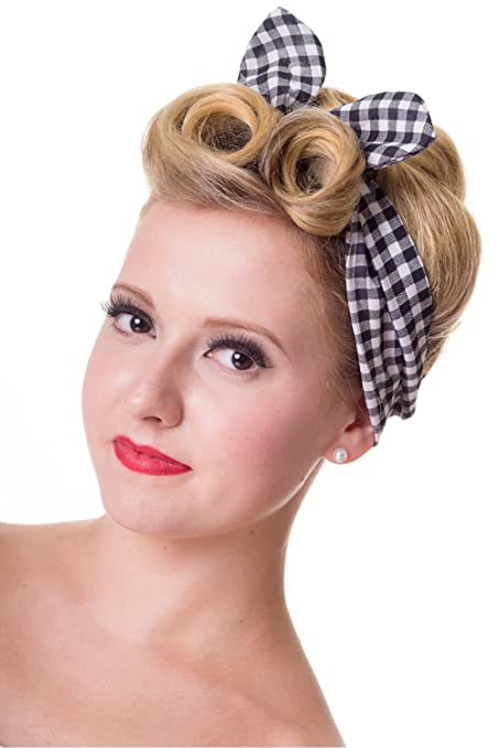 Shop 1950s Hair Accessories Pinup plaid and gingham check Pattern Elastic Campus Headband ... $13.95 AT vintagedancer.com