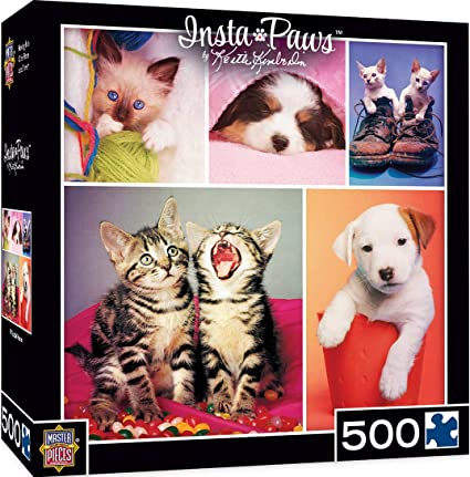 MasterPieces Instapaws #NuzzleNoses - Puppies & Kittens 500 Piece Jigsaw Puzzle by Keith Kimberlin