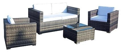 WL Zeo Juego sofá, 2 sillones y mesa, Café, 80 x 146 x 65 cm ...